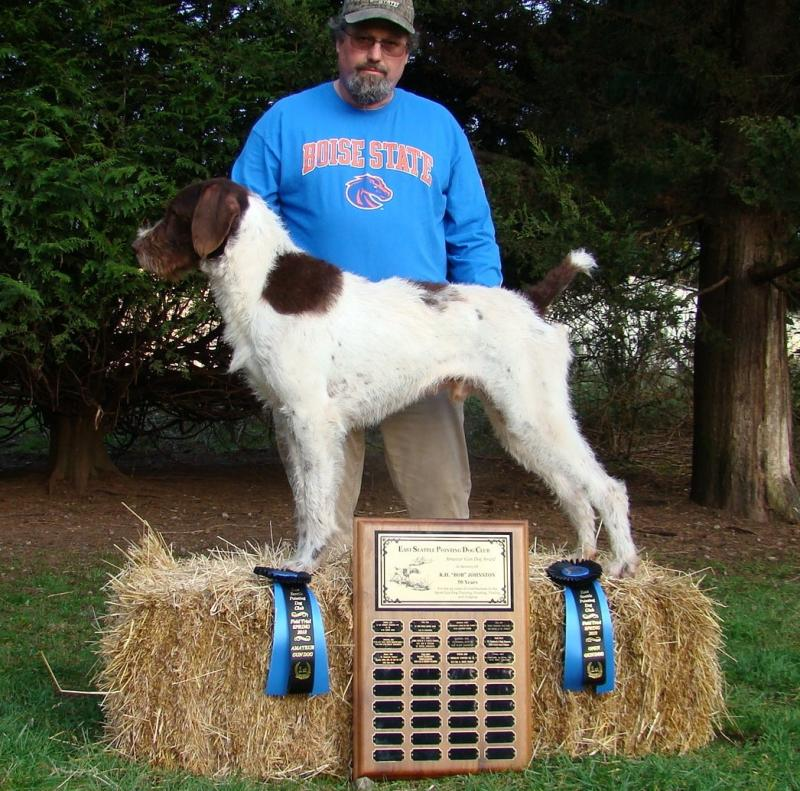 Ralphie Wins AGD and OGD at E. Seattle Field trial, March 2018